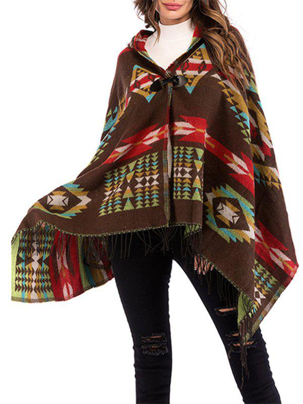 Geo Hooded Horn Button Fringed Poncho - COFFEE ONE SIZE