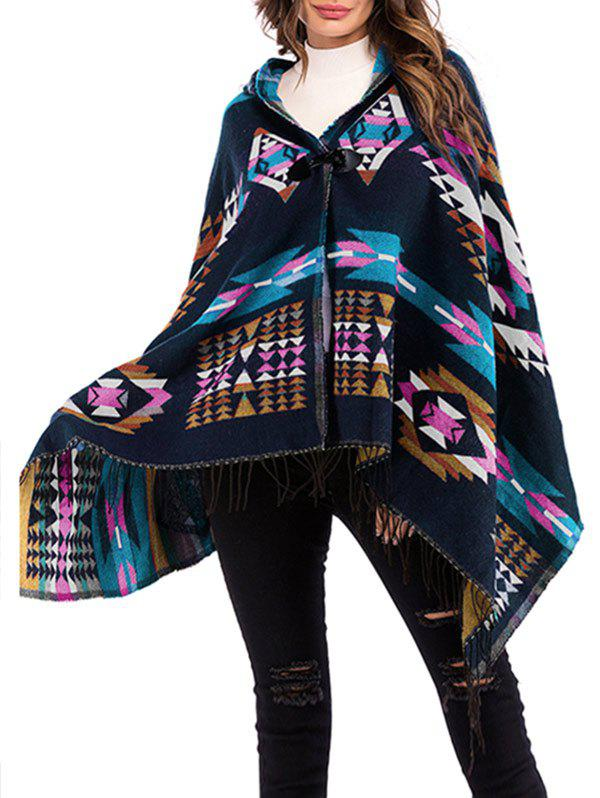 Geo Hooded Horn Button Fringed Poncho - MIDNIGHT BLUE ONE SIZE
