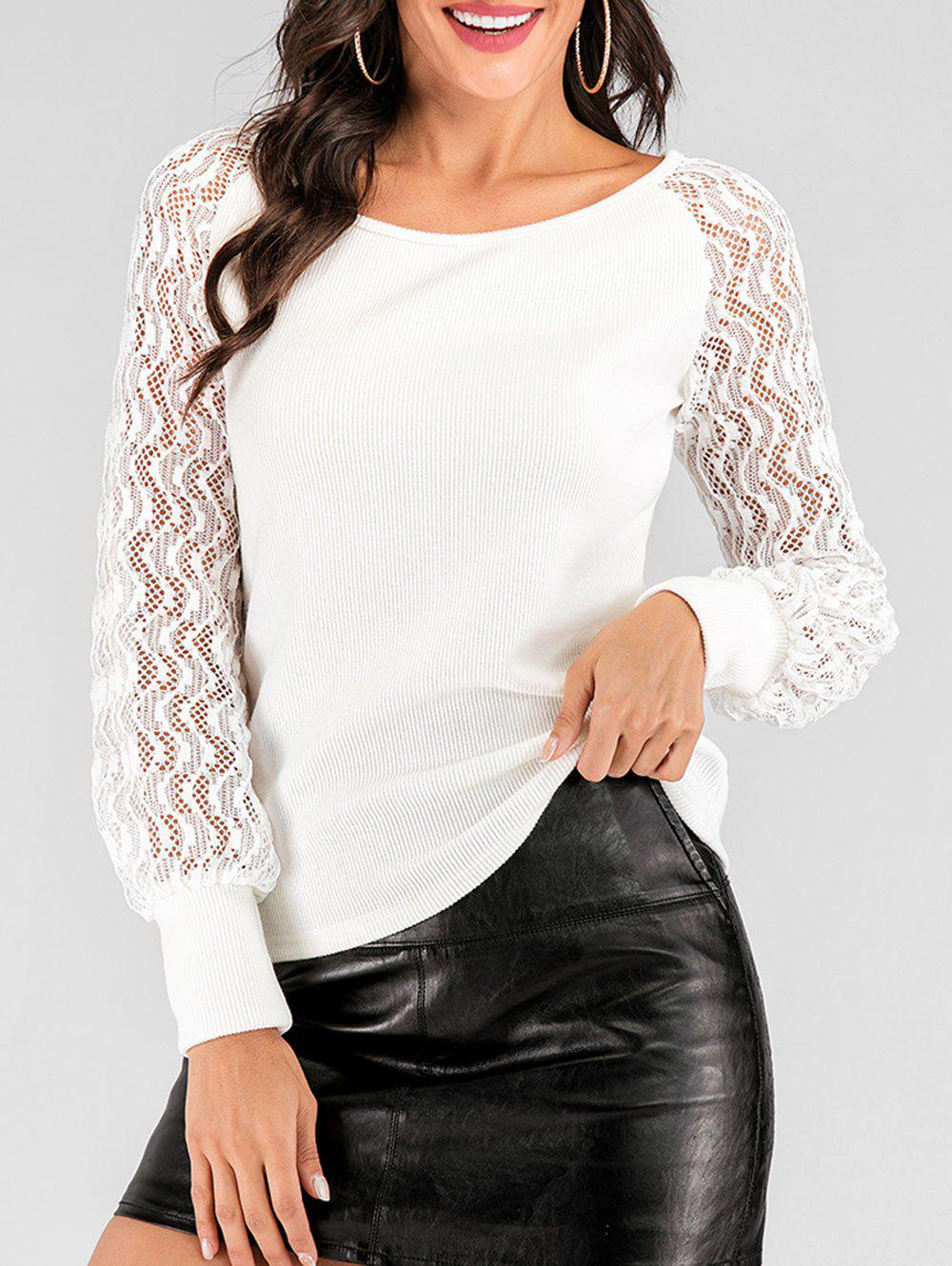 Ribbed Lace See Thru Raglan Sleeve Sweater - WHITE L
