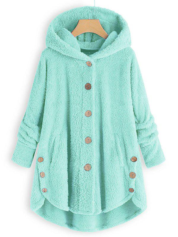 Hooded Faux Shearling Buttons Plus Size Coat - LIGHT GREEN 2X