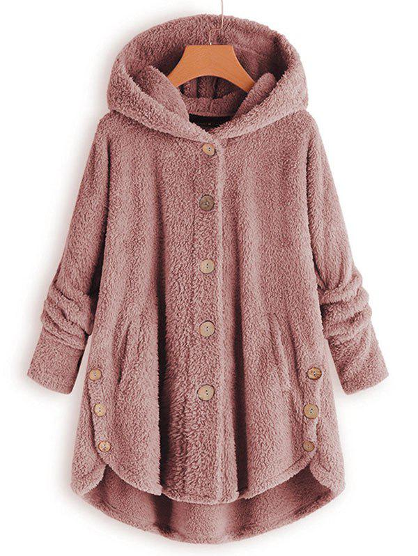 Hooded Faux Shearling Buttons Plus Size Coat - LIGHT COFFEE 1X