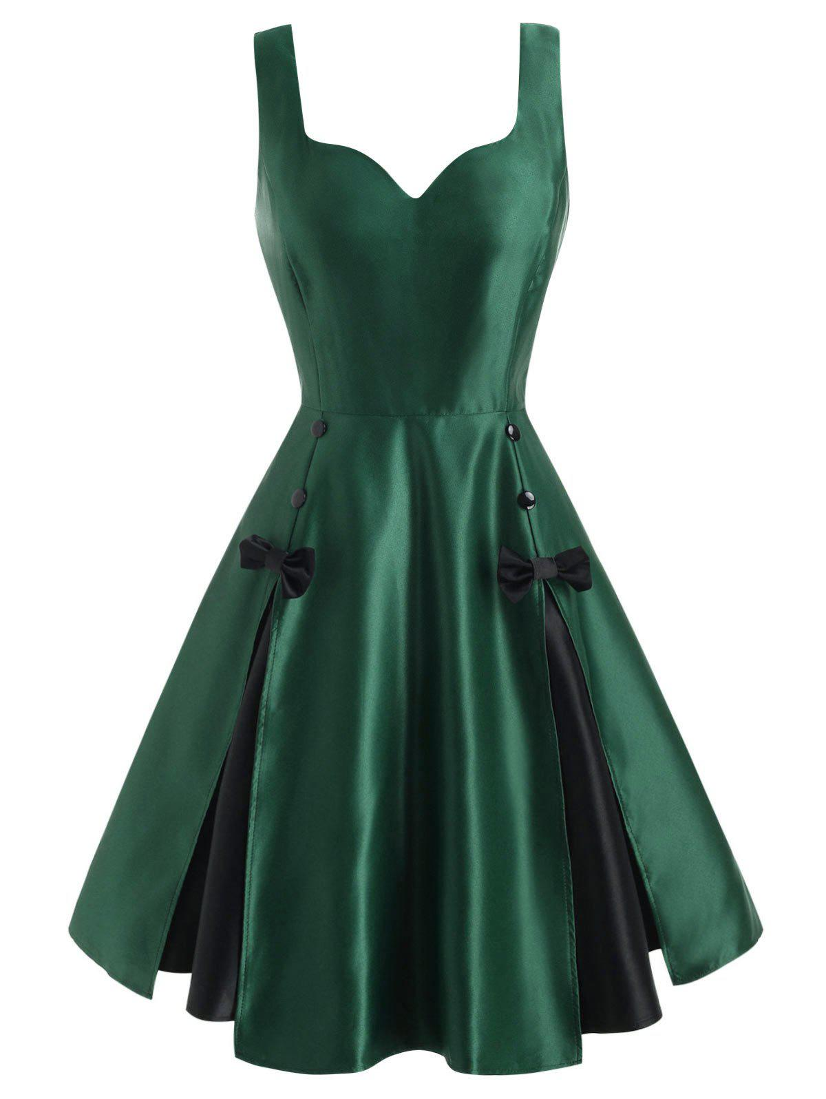 Vintage Bowknot Pin Up Dress - DEEP GREEN XL