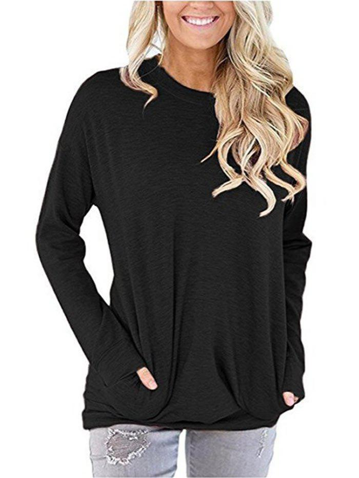 Long Sleeve Drop Shoulder Pocket Tunic Tee - BLACK 2XL