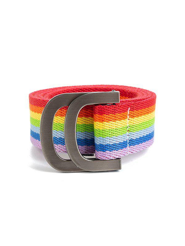Rainbow Color Canvas Double Rings Buckle Belt - multicolor A