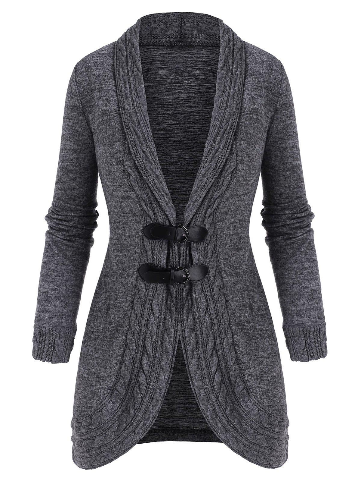 Shawl Collar Buckled Cable Knit Heathered Cardigan - GRAY 2XL