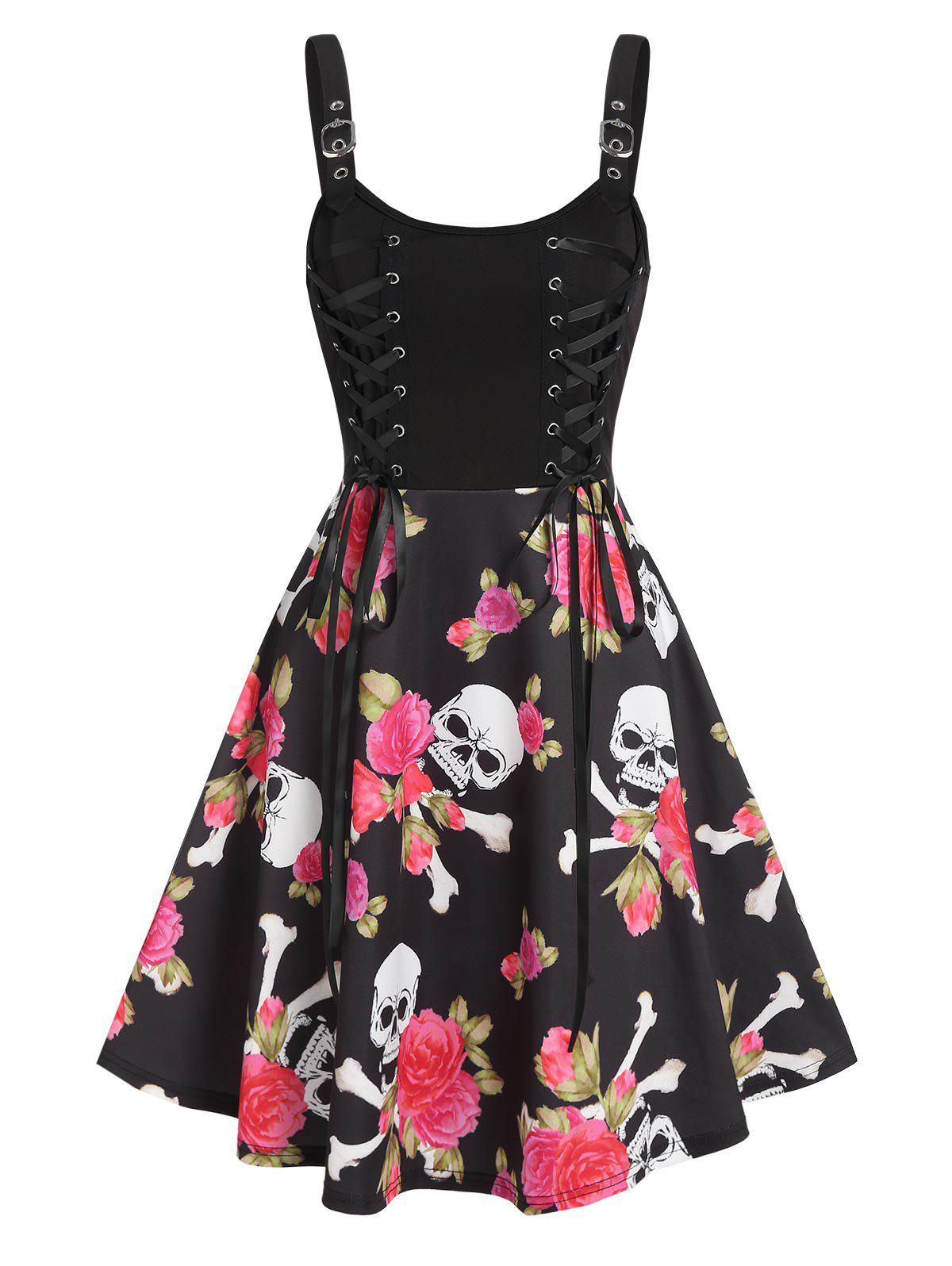 Floral Skull Print Lace Up High Waist Cami Dress - multicolor A 3XL