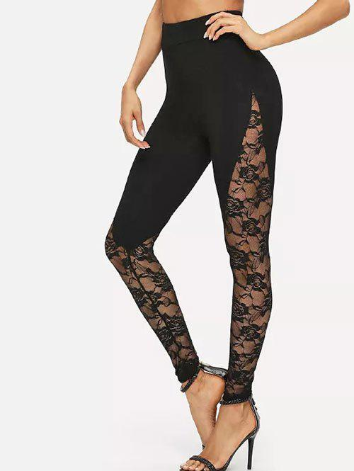 Lace Panel See Thru High Waisted Leggings - BLACK S