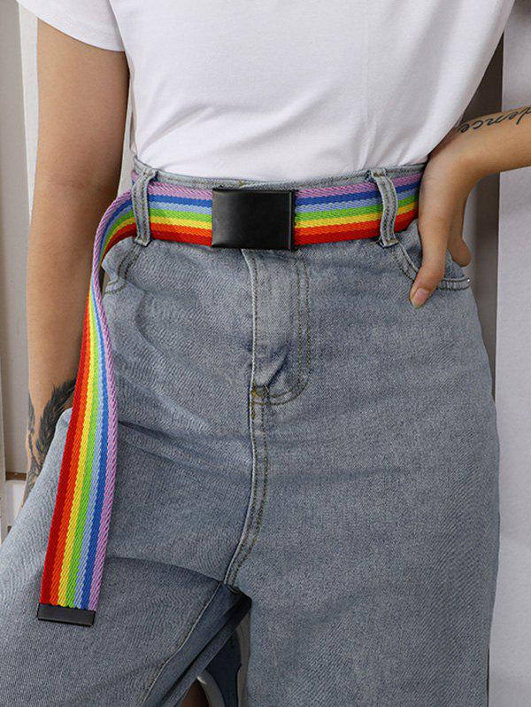 Rainbow Stripes Double Ring Buckle Woven Canvas Belt - multicolor A