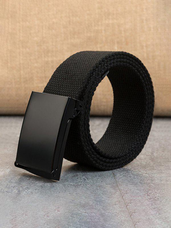 Casual Double Ring Buckle Woven Canvas Belt - BLACK