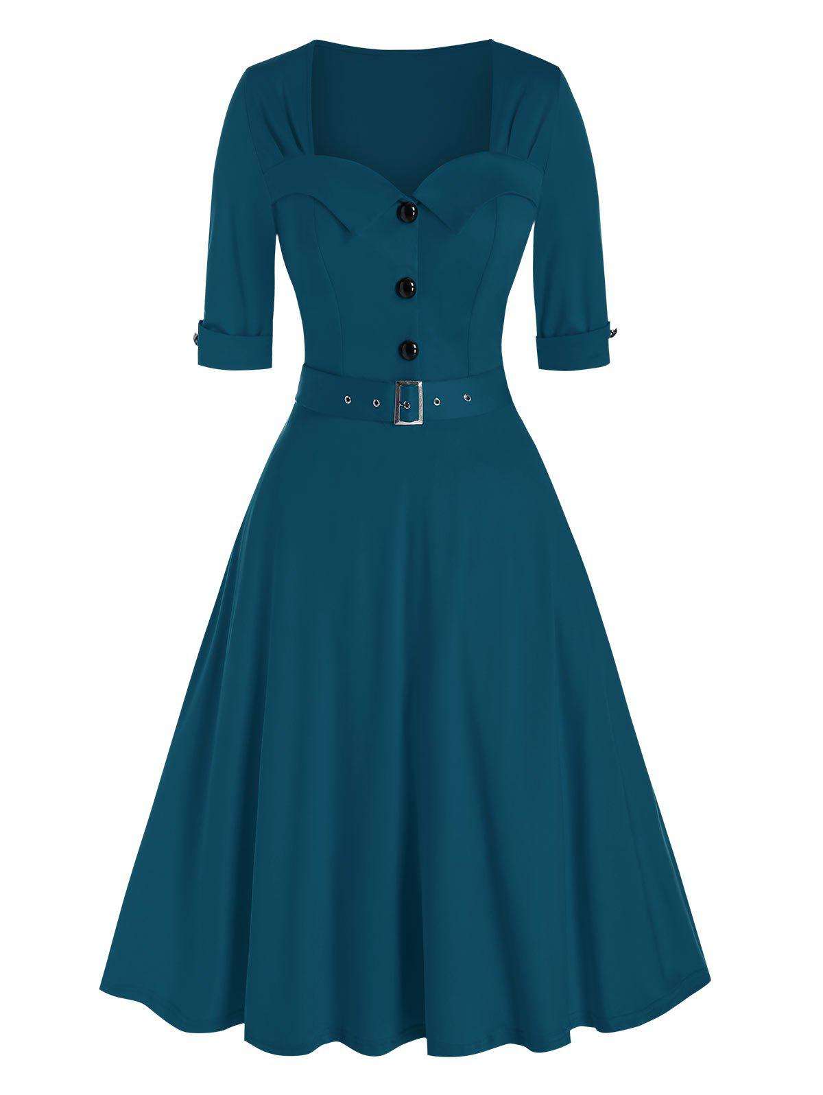 Vintage Half Button Belted Flare Dress - PEACOCK BLUE 3XL
