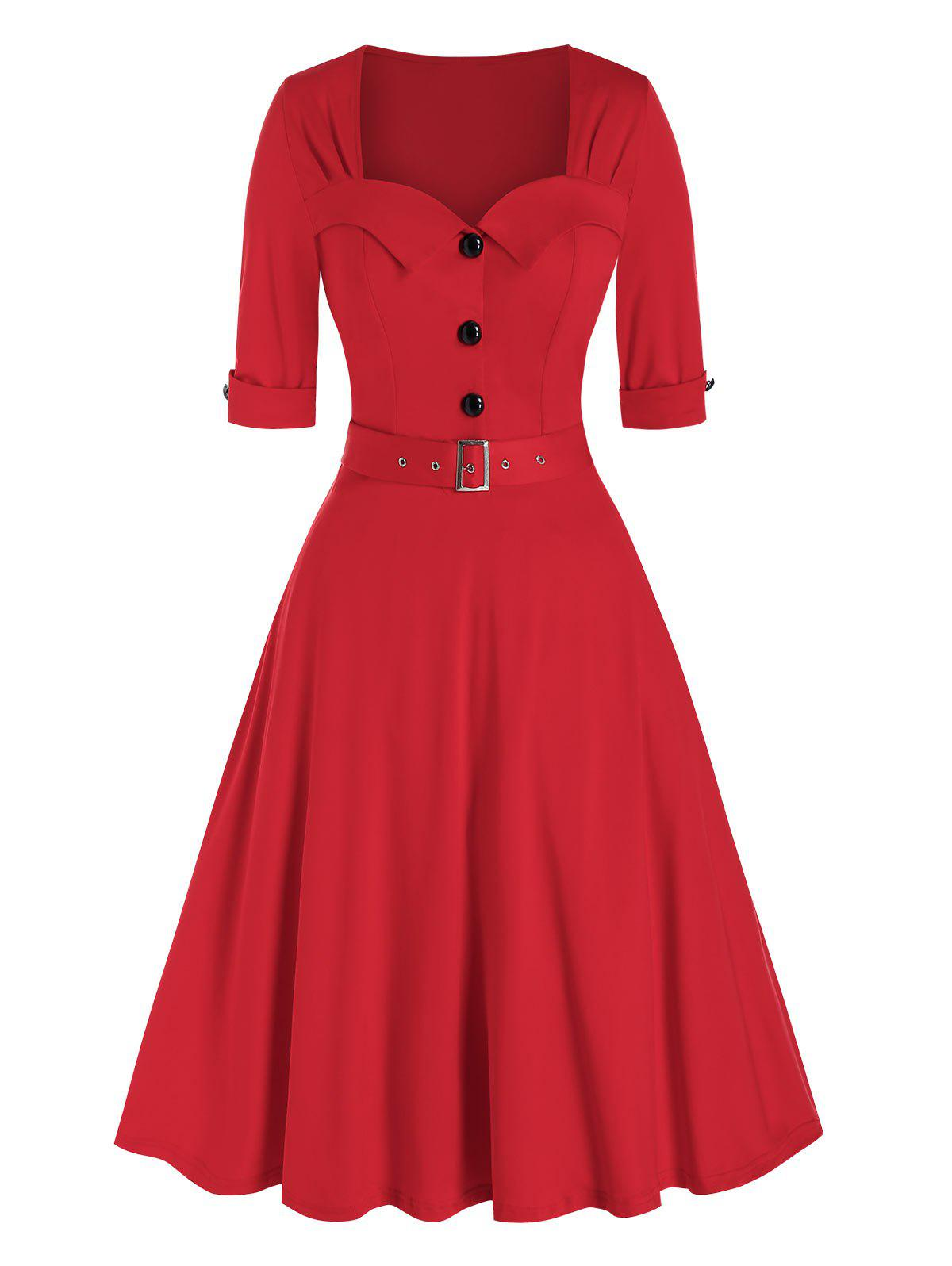 Vintage Half Button Belted Flare Dress - RED 3XL