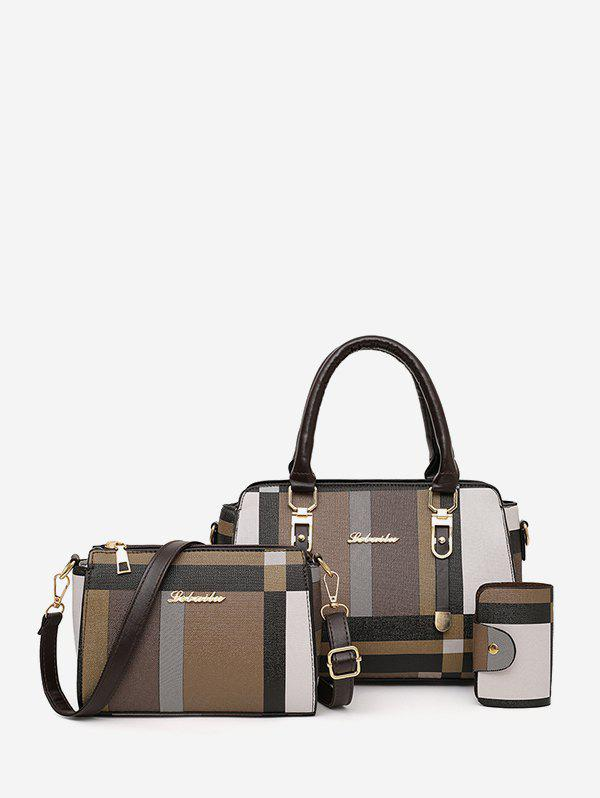 3 Piece Colorblock Leather Tote Bag Sets - DEEP COFFEE