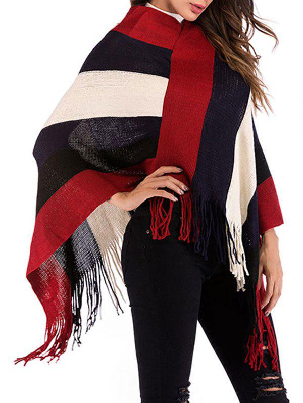 Wide Stripes Fringed Poncho - RED WINE ONE SIZE
