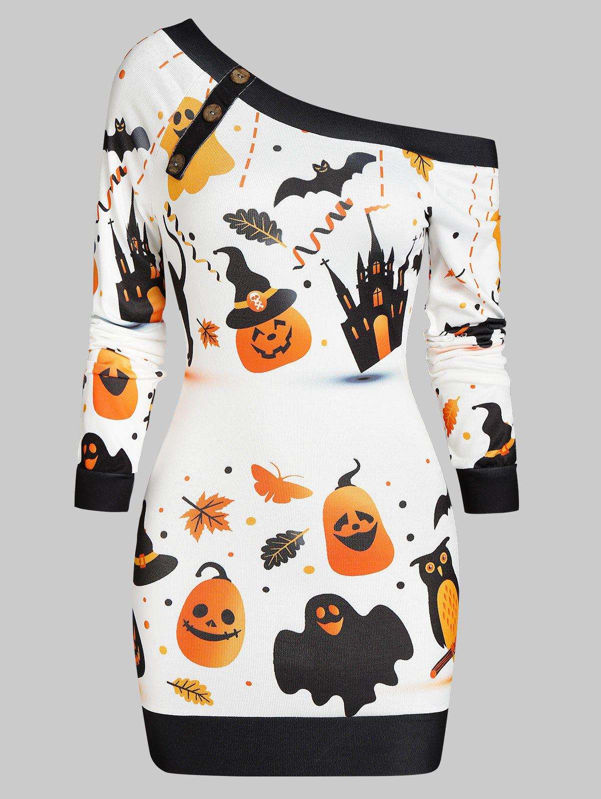 Halloween Pumpkin Castle Print Skew Neck Bodycon Dress - WHITE M