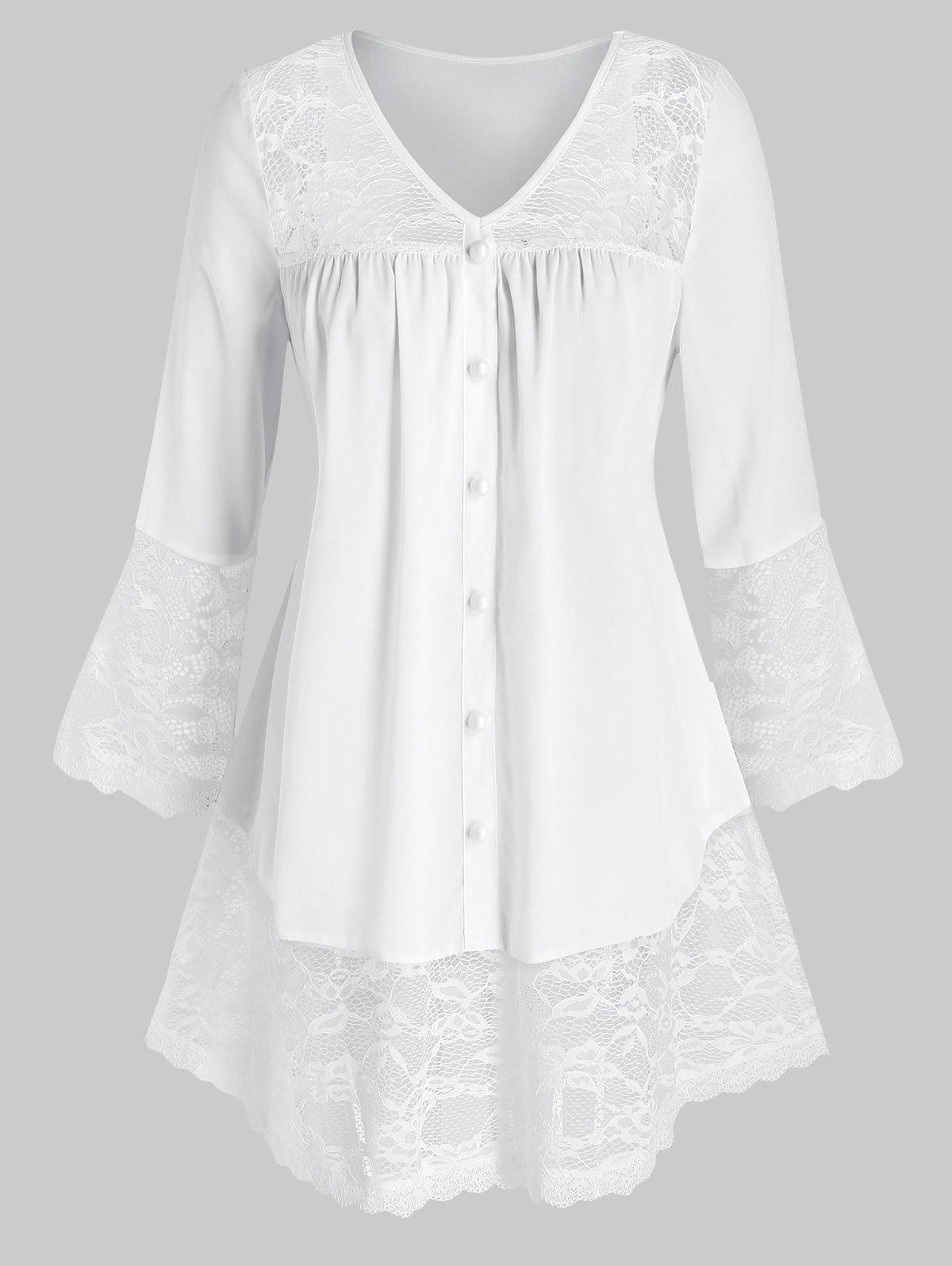 Plus Size Lace Inserted Buttons Tunic Blouse - WHITE 5X