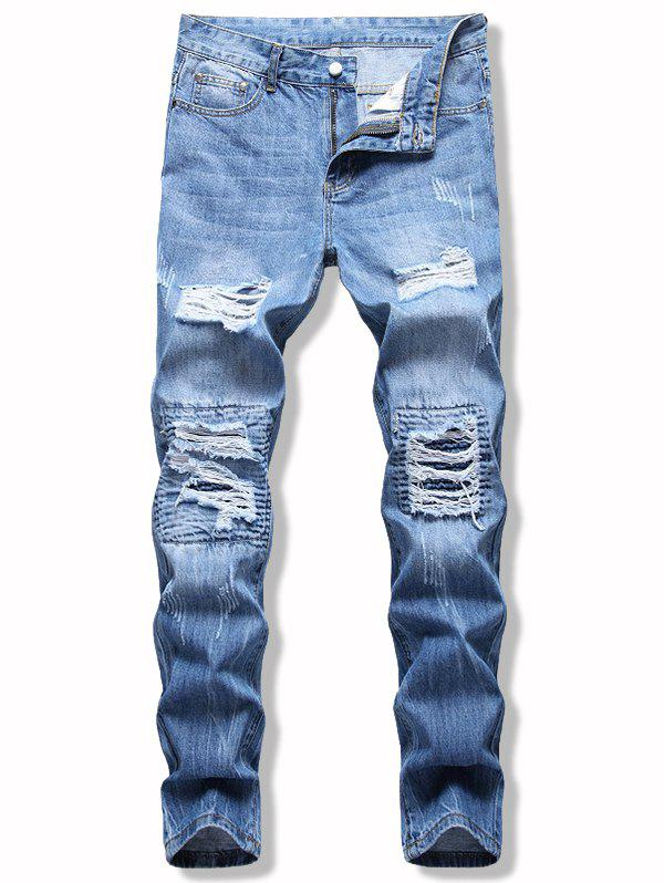 Zipper Fly Light Wash Ripped Jeans - LIGHT BLUE 36