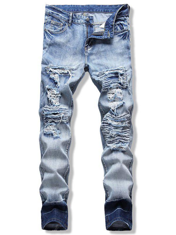 Light Wash Contrast Ripped Jeans - LIGHT BLUE 36