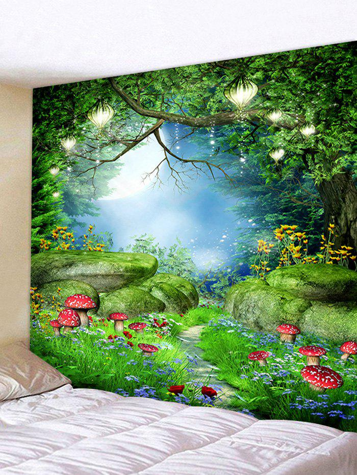 Forest Mushrooms Pattern Decorative Wall Hanging Tapestry - MEDIUM SPRING GREEN W79 X L59 INCH