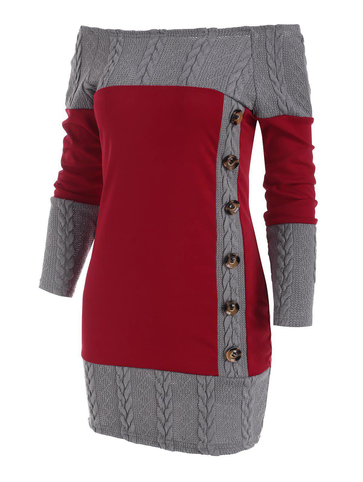 Combo Mock Button Cable Knit Sweater Dress - DEEP RED 3XL