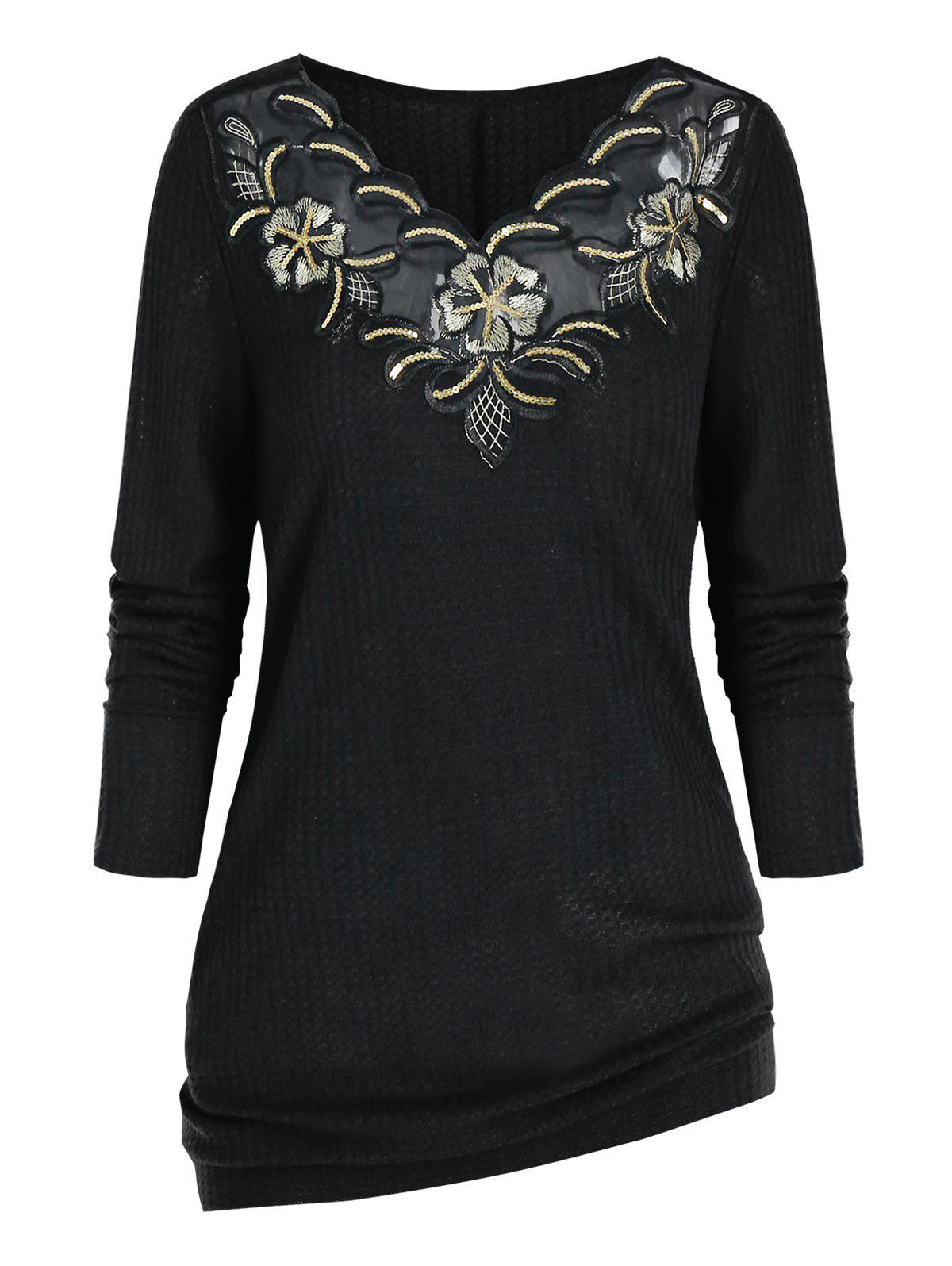 Plus Size Sequin Embroidered Knitwear - BLACK 5X