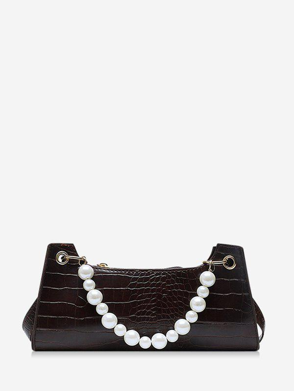 Faux Pearl Animal Embossed Underarm Shoulder Bag - DEEP COFFEE