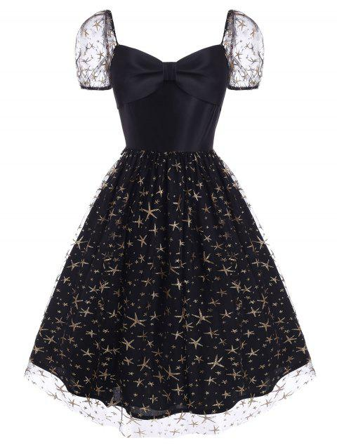 Sparkly Star Lace Insert Bowknot Sweetheart Dress