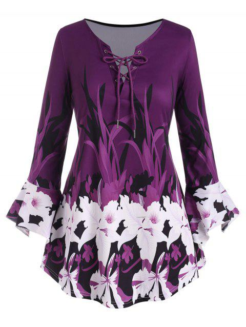 Plus Size Bell Sleeve Floral Print Lace Up Top