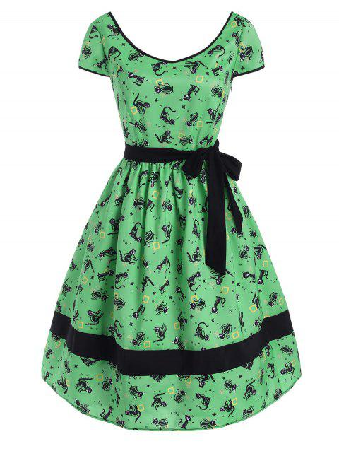 Cat Snowflake Star Print Belted Cap Sleeve Dress