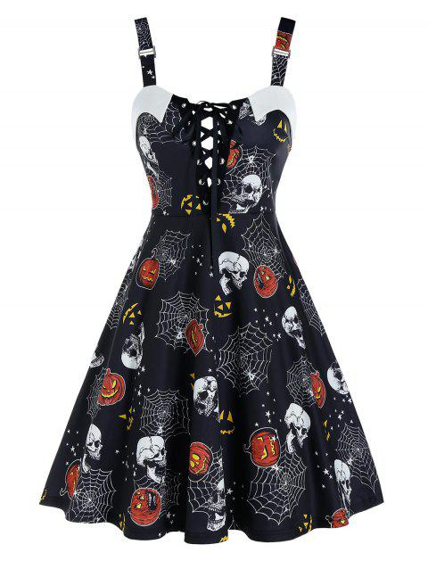 Halloween Pumpkin Skull Print Lace Up Cami A Line Dress