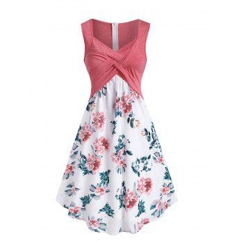 Floral Printed Splicing A Line Dress