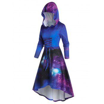 Hooded Galaxy Print Lace Up High Low Dress