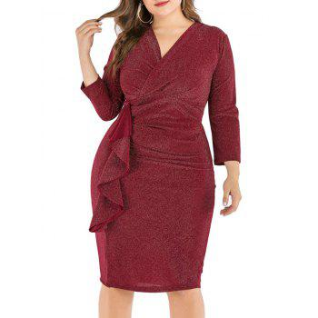 Plus Size Ruffled Shimmer Knit Bodycon Dress