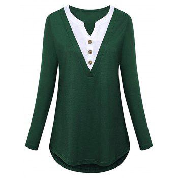 Plus Size Half Button 2 in 1 Top