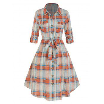 Plus Size Plaid Rolled Up Sleeve Belted Shirt Dress