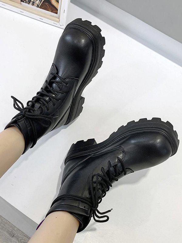 High-top Suede Lace Up Boots - BLACK EU 38