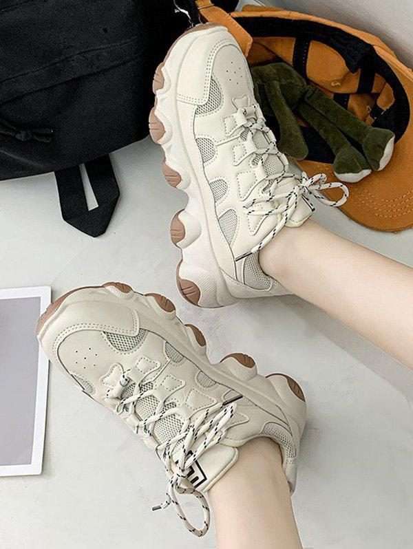 Mesh Trim Lace Up Dad Sneakers - BEIGE EU 38