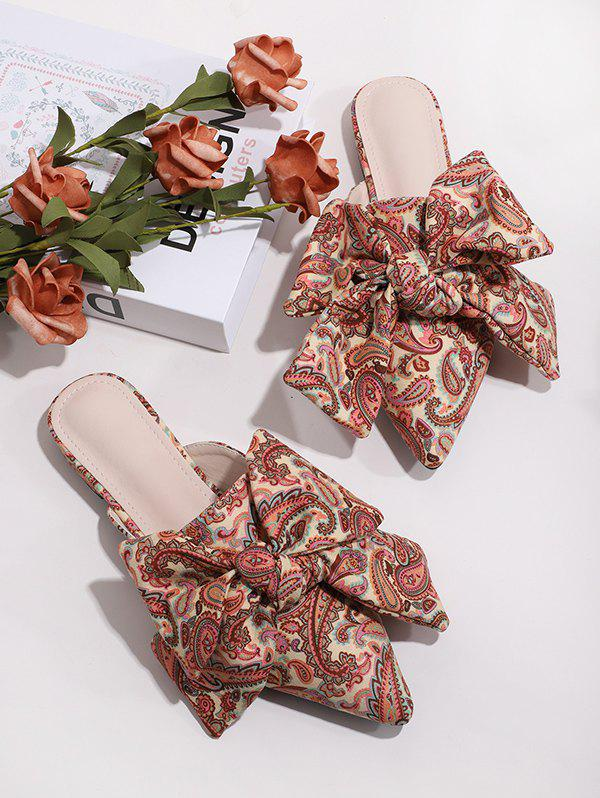 Paisley Printed Bowknot Slides Flat Shoes - multicolor A EU 38