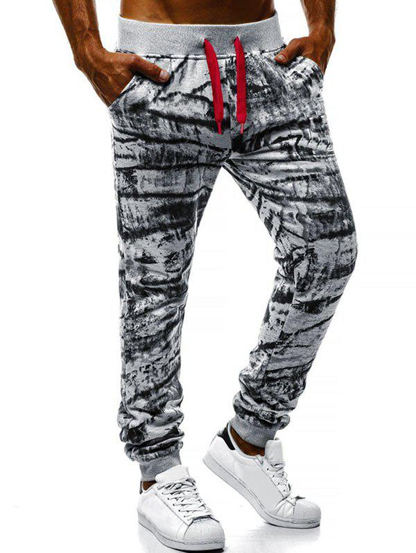 Tie Dye Print Elastic Waist Jogger Pants - LIGHT GRAY 2XL