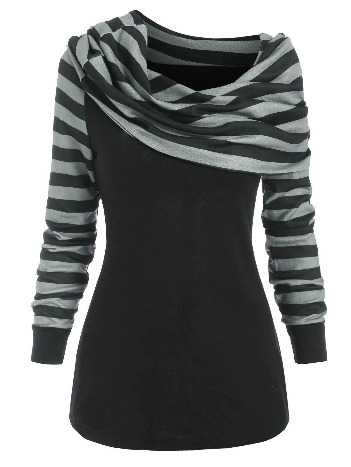 Striped Foldover Jumper Knitwear - BLACK 2XL