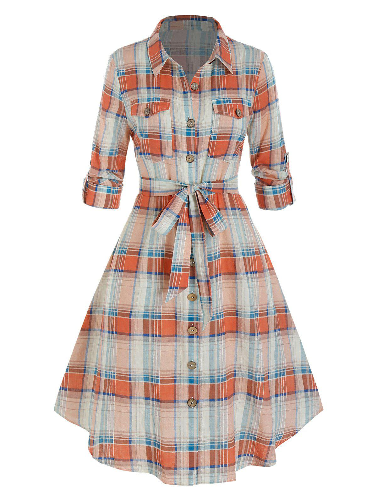 Plus Size Plaid Rolled Up Sleeve Belted Shirt Dress - multicolor A 5X