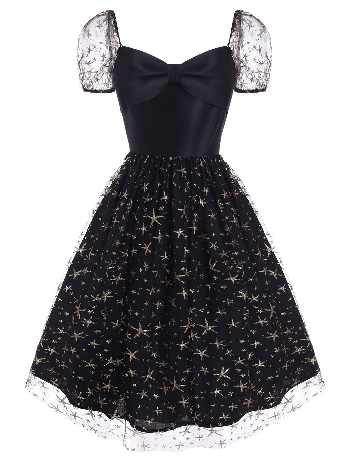 Sparkly Star Lace Insert Bowknot Sweetheart Dress - BLACK L