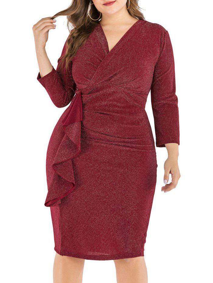 Plus Size Ruffled Shimmer Knit Bodycon Dress - DEEP RED XL