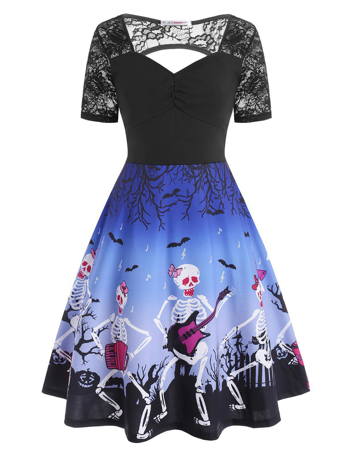 Plus Size Skeleton Playing Guitar Cutout Halloween Dress - BLUE 5X
