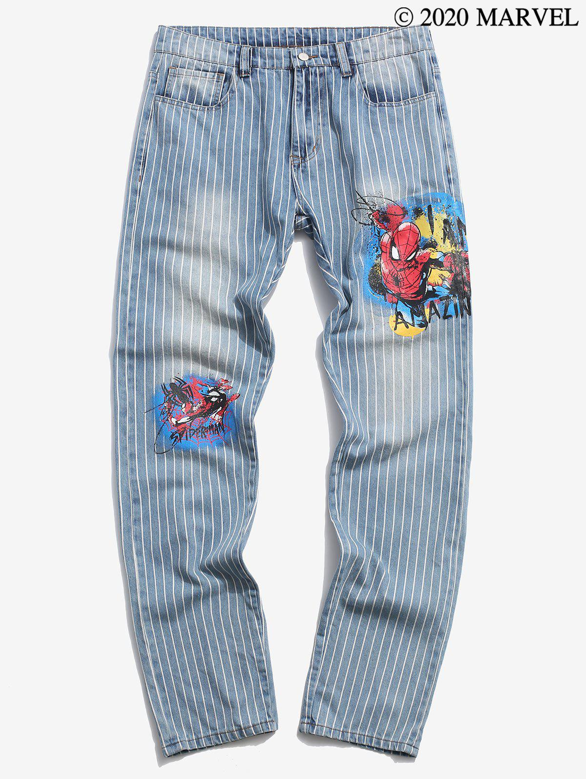 Marvel Spider-Man Graphic Pinstriped Casual Jeans - LIGHT BLUE 2XL