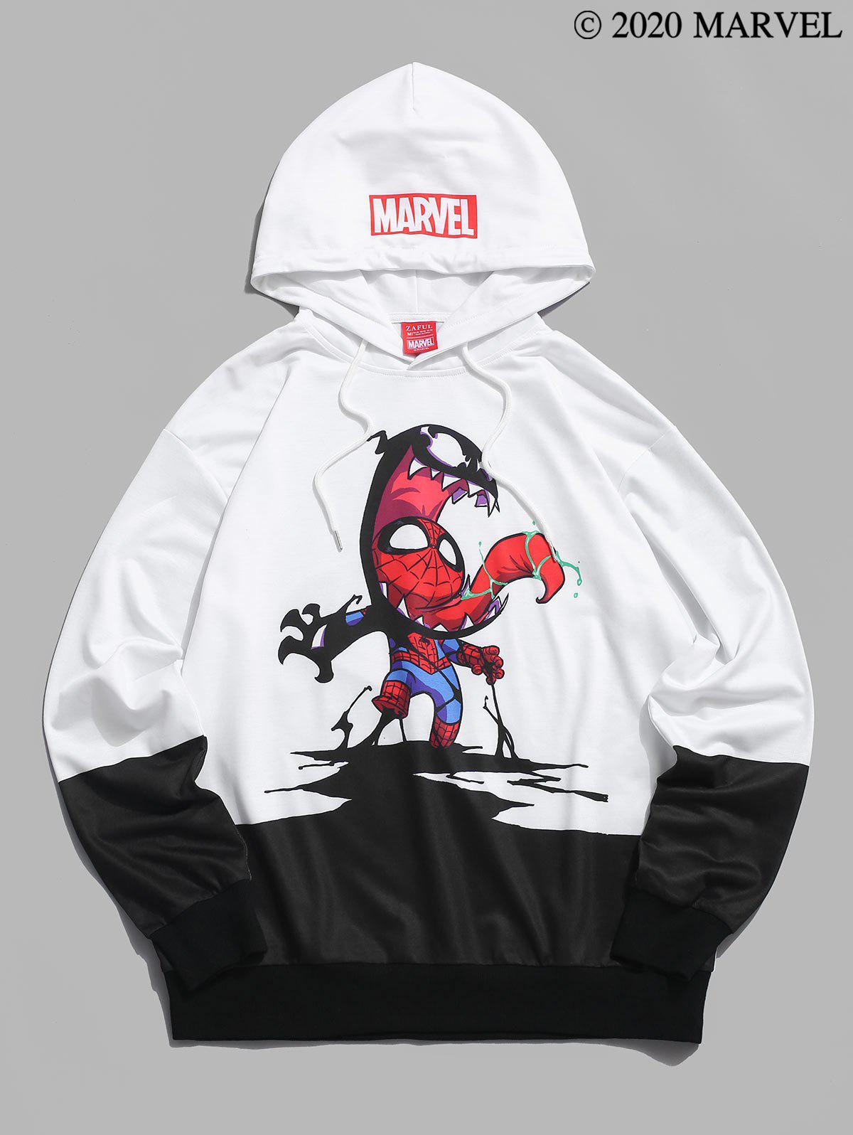 Sweat à Capuche Décontracté Marvel Spider-Man Venom Graphique à Cordon - Blanc 2XL