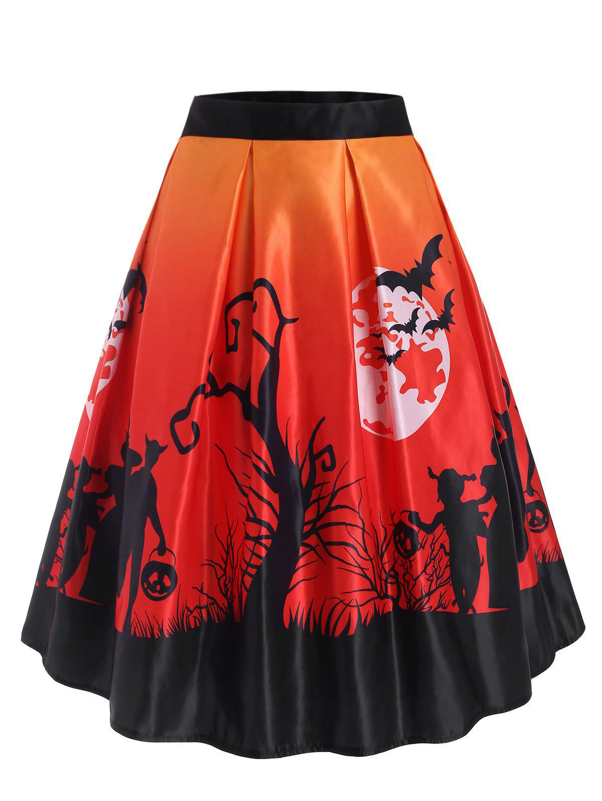 Halloween Moon Bat Print Midi Skirt - ORANGE XL