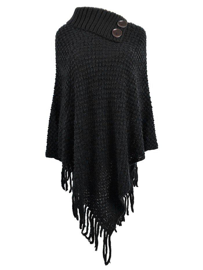 Plus Size Fringe Poncho Sweater - BLACK ONE SIZE