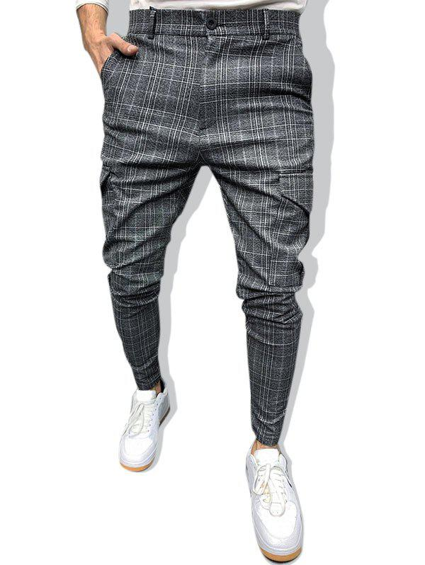 Plaid Print Zip Hem Leisure Pencil Pants - DARK GRAY XXL