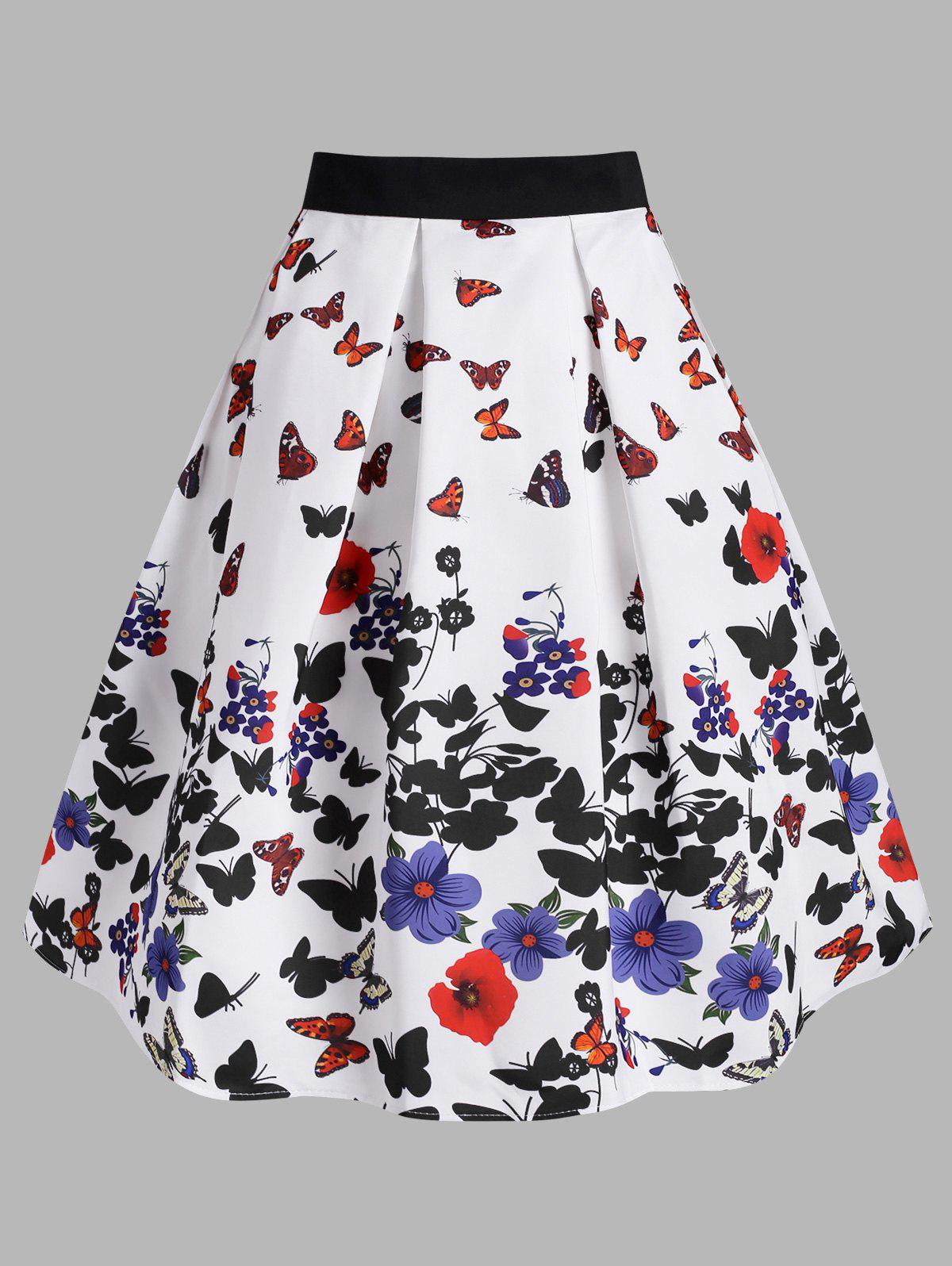 Flower Butterfly Print Midi Skirt - WHITE L