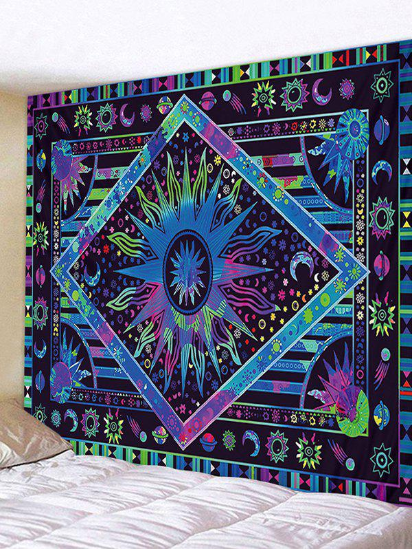 Bohemia Sun And Moon Printing Wall Tapestry - DEEP BLUE W91 X L71 INCH